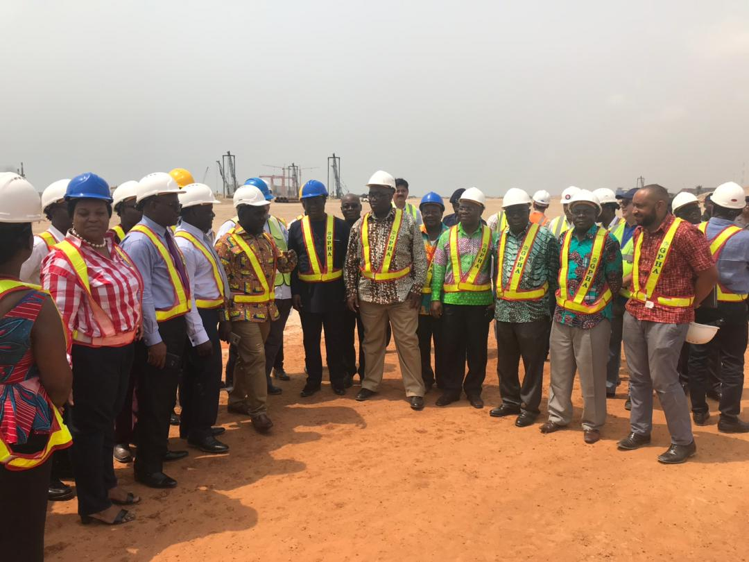 MINISTER FOR RAILWAYS DEVELOPMENT, HON. JOE GHARTEY PAYS A WORKING VISIT TO THE TEMA PORT EXPANSION PROJECT SITE