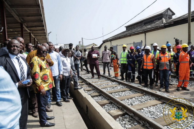 PRESIDENT AKUFO-ADDO INSPECTS REVAMPED ACCRA-NSAWAM RAILIWAY LINE; PLEDGES REVIVAL OF RAIL SECTOR